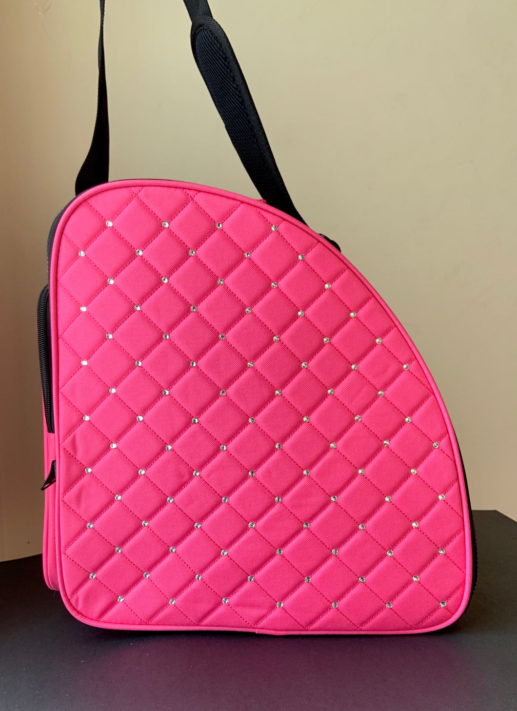 CUBE Shoulder Bag Pink with crystals.