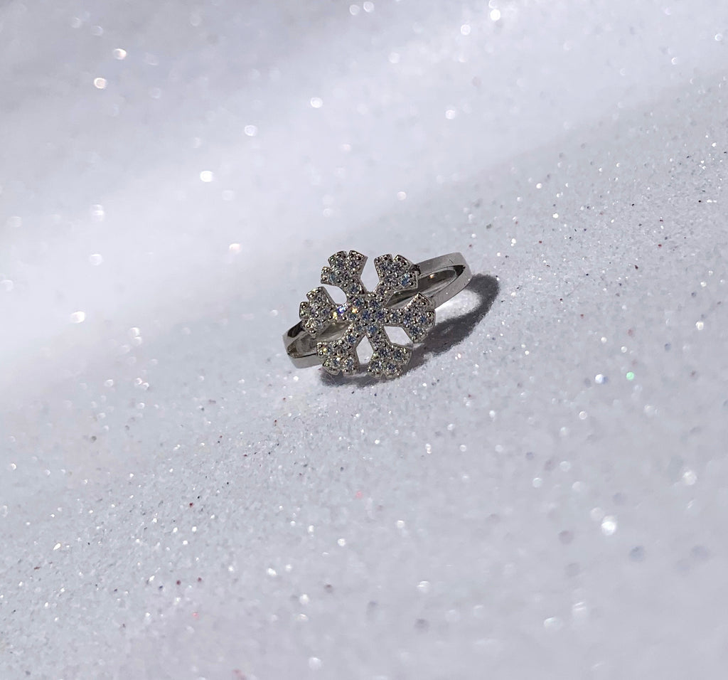STERLING SILVER CZ SNOWFLAKE RING 3 - SXR396