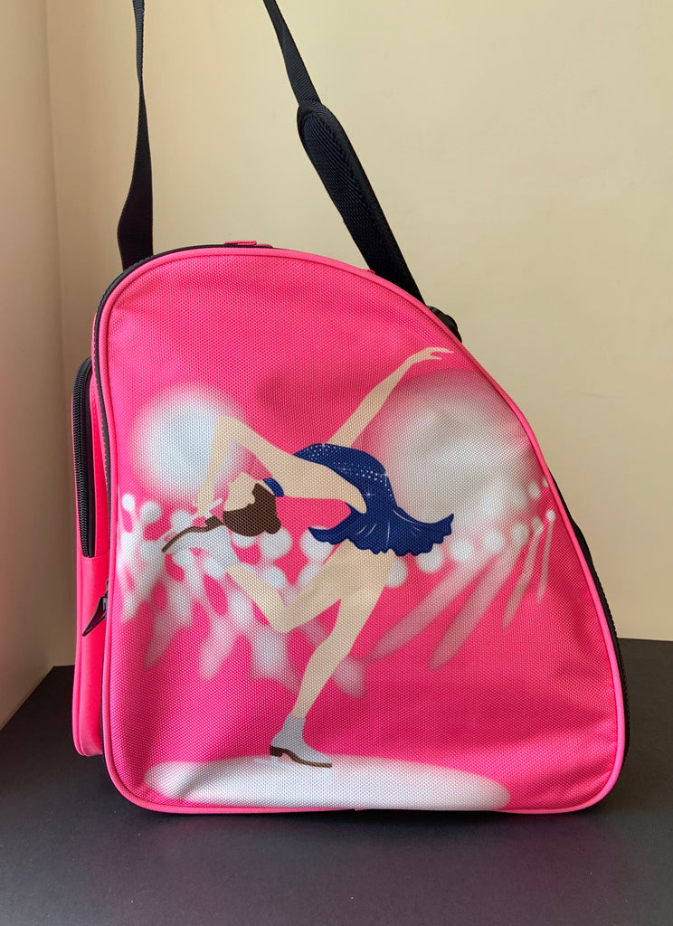 CUBE Shoulder Bag Pink with blue dress spinner. (Fits all skates)
