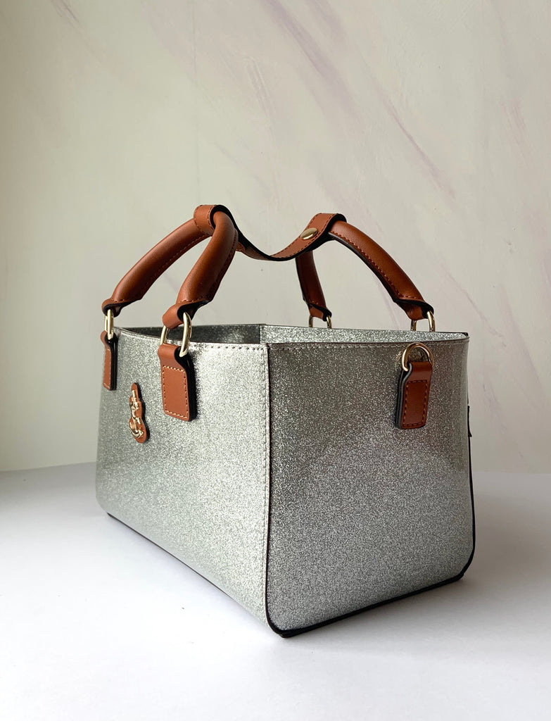 Cube Tote Bag SHINY, silver