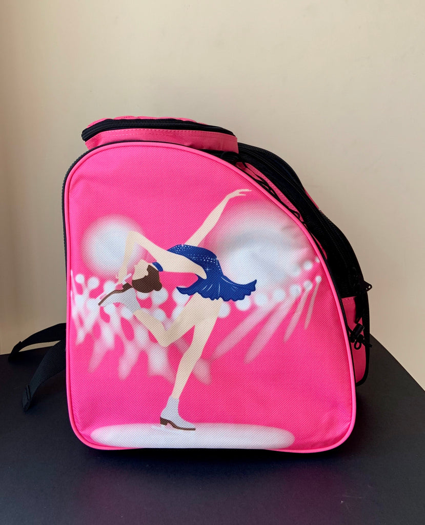 CUBE Skate Backpack Pink with blue dress spinner (for Figure & Inline skates only)