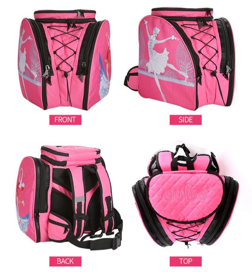 CUBE Skate Backpack Pink with three spinners.