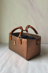 Cube Tote Bag BLING, brown/gold