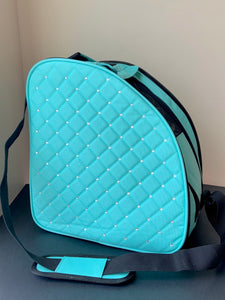 CUBE Shoulder Bag Mint Green with Crystals.