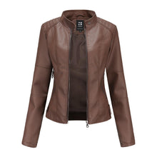 Load image into Gallery viewer, Women's Slim-Fit Motorcycle Jacket with Stand-Up Collar Leather Jacket