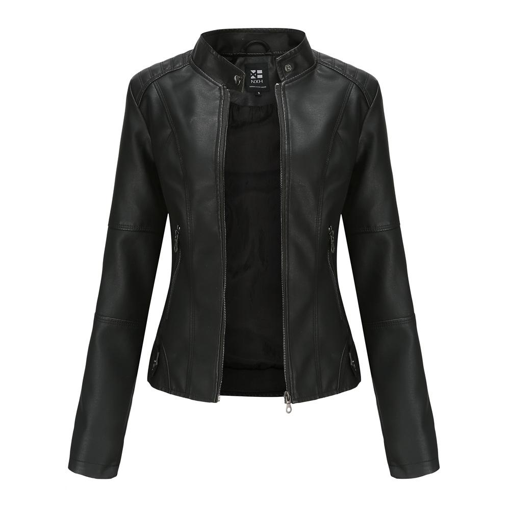 Women's Slim-Fit Motorcycle Jacket with Stand-Up Collar Leather Jacket