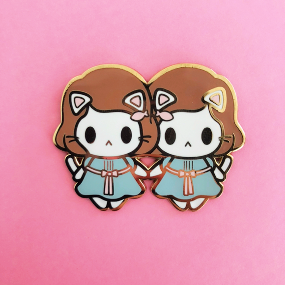 Kitty Twins Halloween Enamel Pin