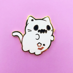 ♥B GRADE♥ Ghost Halloween Kitty Enamel Pin