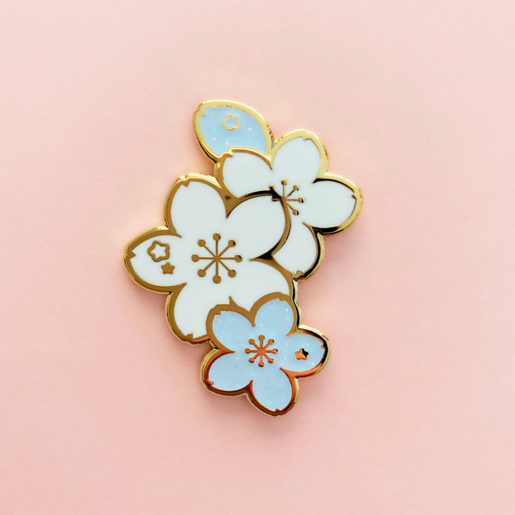 White Sakura Branch Enamel Pin