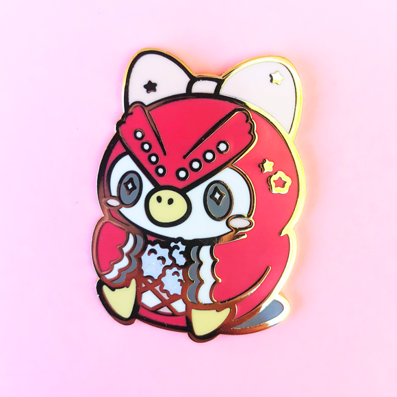Limited Edition Pastel Red Owl Enamel Pin