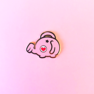 Pink Elephant Watering Can Enamel Pin