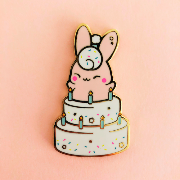 Birthday Bunny Cake Enamel Pin