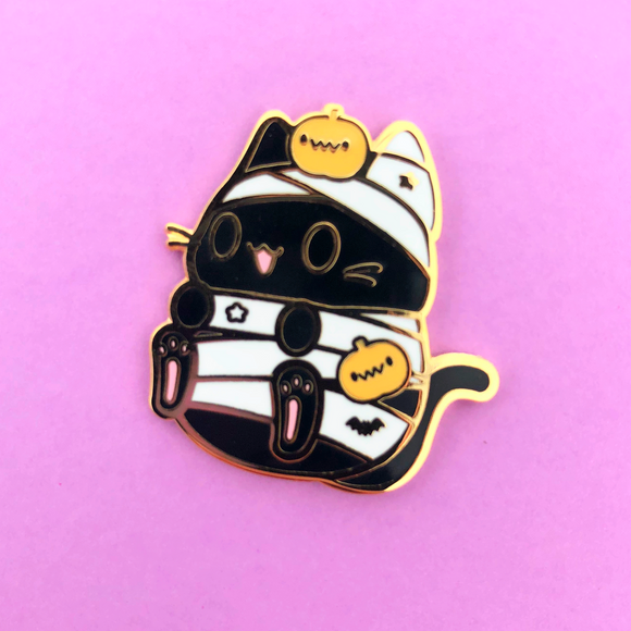 Mummy Halloween Kitty Enamel Pin