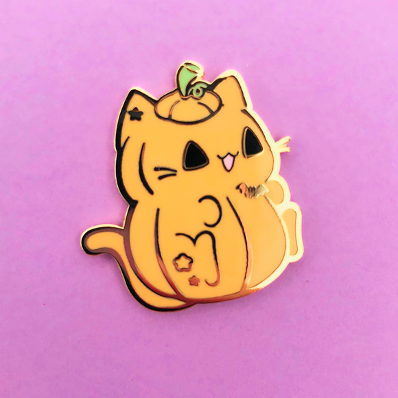 Pumpkin Halloween Kitty Enamel Pin
