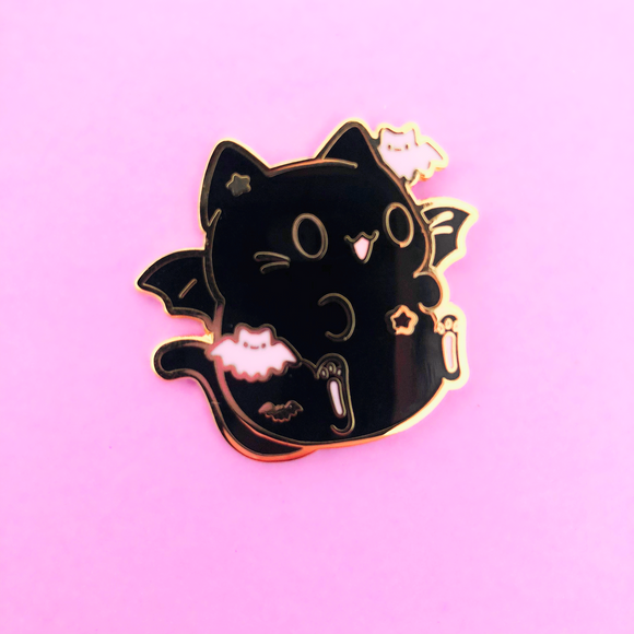 ♥B GRADE♥ New Bat Halloween Kitty Enamel Pin