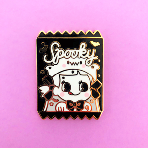 ♥B GRADE♥ Spooky Ghost Halloween Candy Bag Enamel Pin