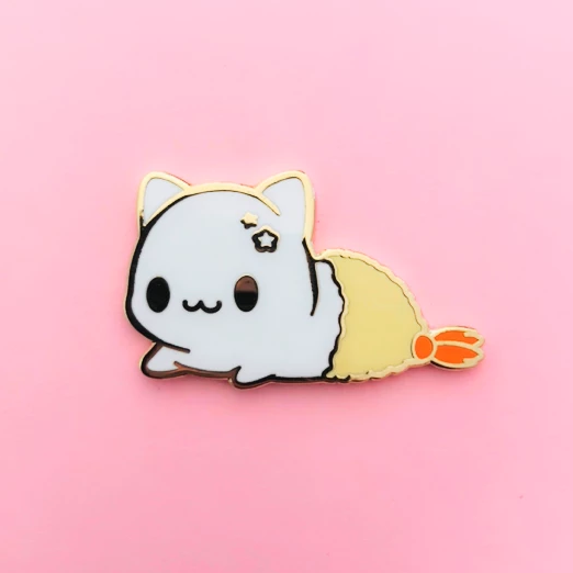 White Tempura Kitty Enamel Pin