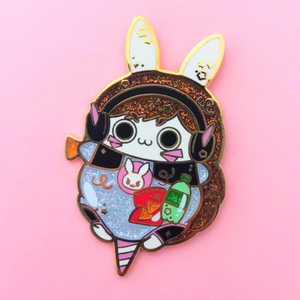 Gremlin Bunny Cotton Candy Enamel Pin