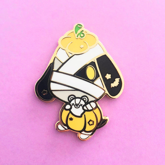 ♥B GRADE PIN♥ Pumpkin Mummy Dog Enamel Pin