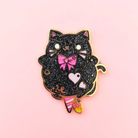 ♥B GRADE♥ Black Cat Cotton Candy Enamel Pin