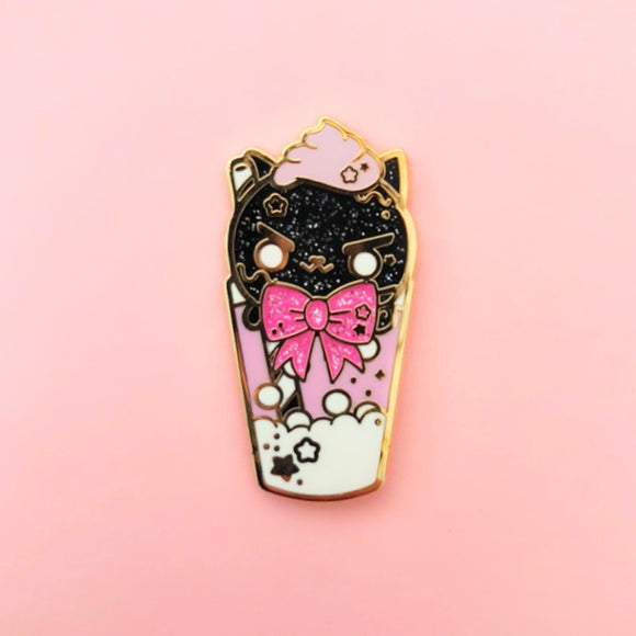Black Cat Float Enamel Pin