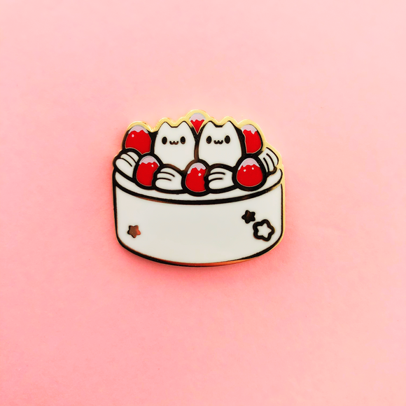 Red Kitty Cake Enamel Pin