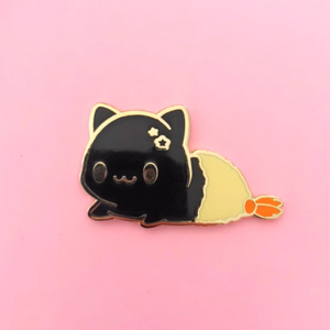 Black Tempura Kitty Enamel Pin