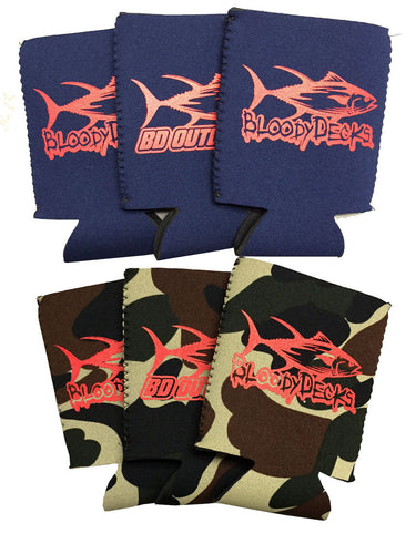 Fishing Koozies- 6 Pack Can Size - Bloodydecks - BDOutdoors - Fishing Tee Shirts