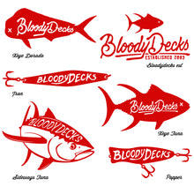 Load image into Gallery viewer, Bloodydecks Sticker Pack - 2 Decals - Bloodydecks - BDOutdoors - Fishing Tee Shirts