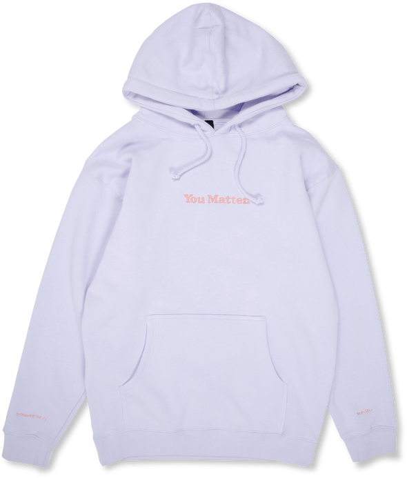 You Matter Embroidered Hoodie - Lavender & Apricot