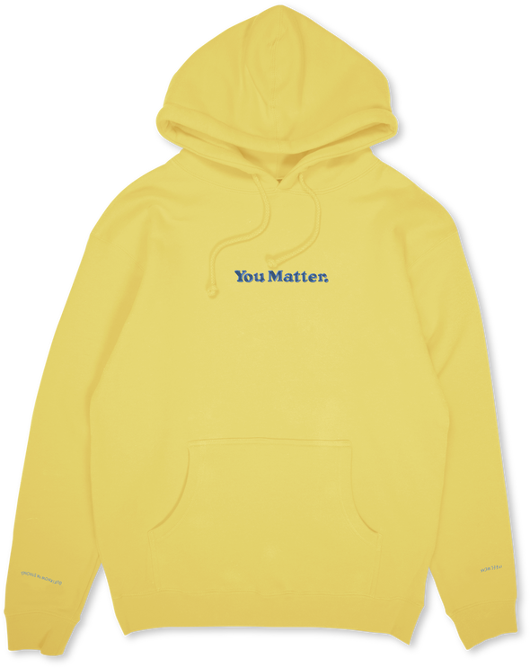 You Matter Embroidered Hoodie - Baby Yellow & Blue