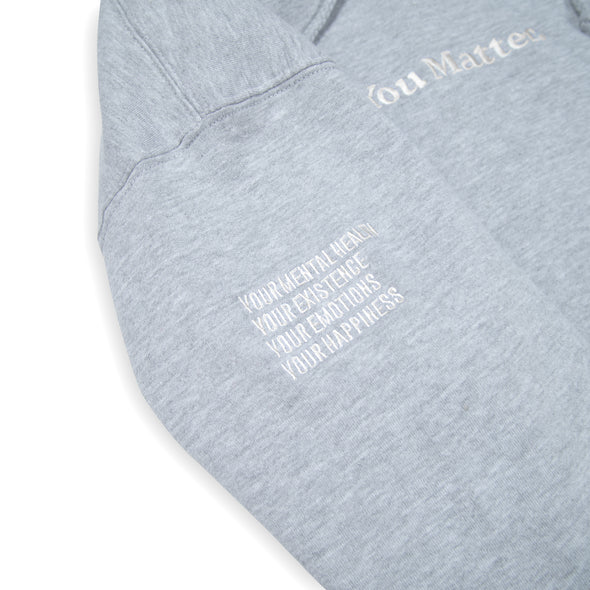 You Matter Hoodie - Grey & White