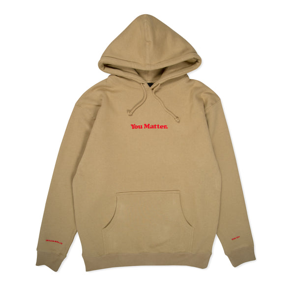 You Matter Hoodie - Tan & Red