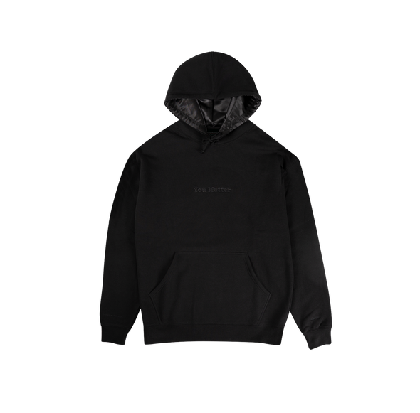 You Matter Satin Hoodie - Black