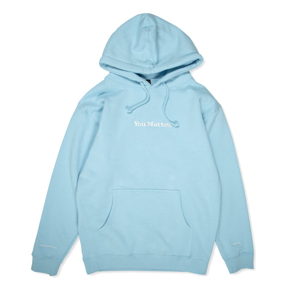 You Matter Embroidered Hoodie - Baby Blue & White
