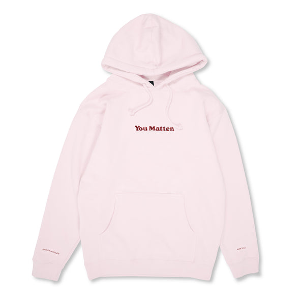 You Matter Embroidered Hoodie - Pink & Burgundy