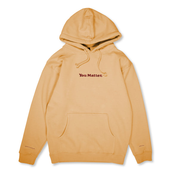 You Matter Embroidered Hoodie - Peach & Maroon