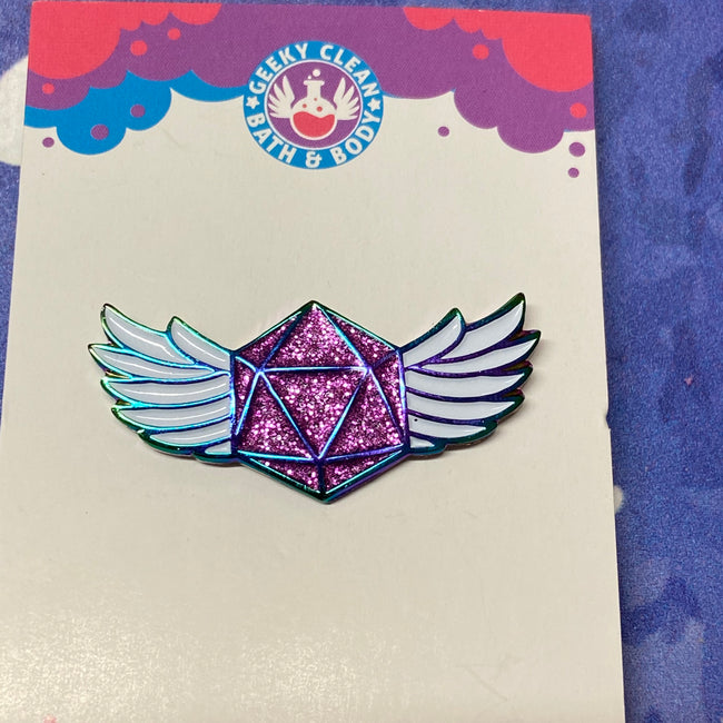 Winged D20-Pin Badge