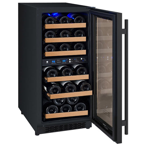 "Allavino Flexcount - 15"" 30-Bottle Dual Zone Wine Refrigerator - Black VSWR30-2BWRN"