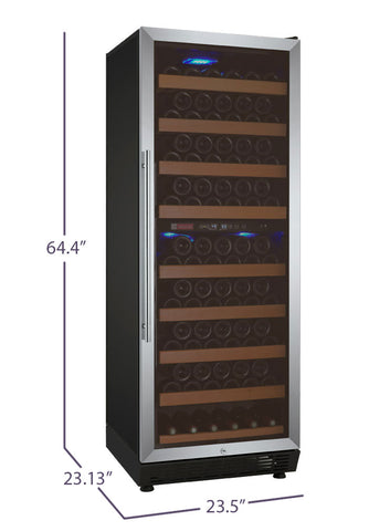 "Allavino 24"" Wide Vite Series 99 Bottle Dual Zone Stainless Steel Wine Refrigerator - YHWR99-2SRN"