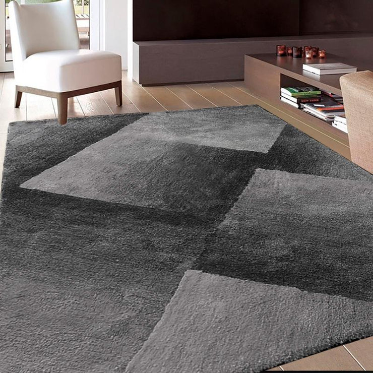 Romeo Black Grey Shaggy Rug 2.4 x 3.3m