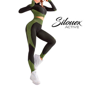 Zipper Patchwork Yoga Suit - Silouex
