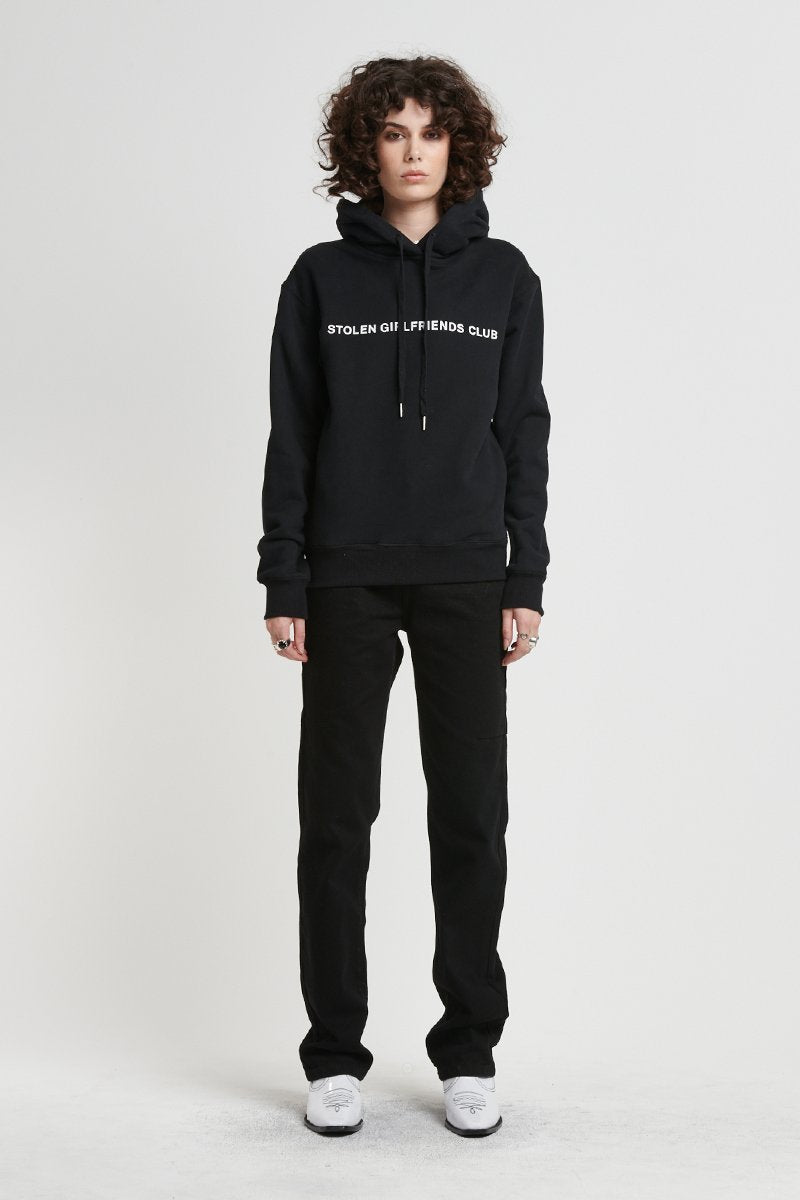 Stolen Girlfriends Club Texrt Logo Black Hoodie
