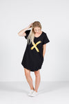 Home Lee Jack Dress Black with Gold X Print