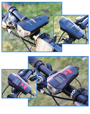 Waterproof Bicycle Light w/ Horn Speed Meter LCD Screen