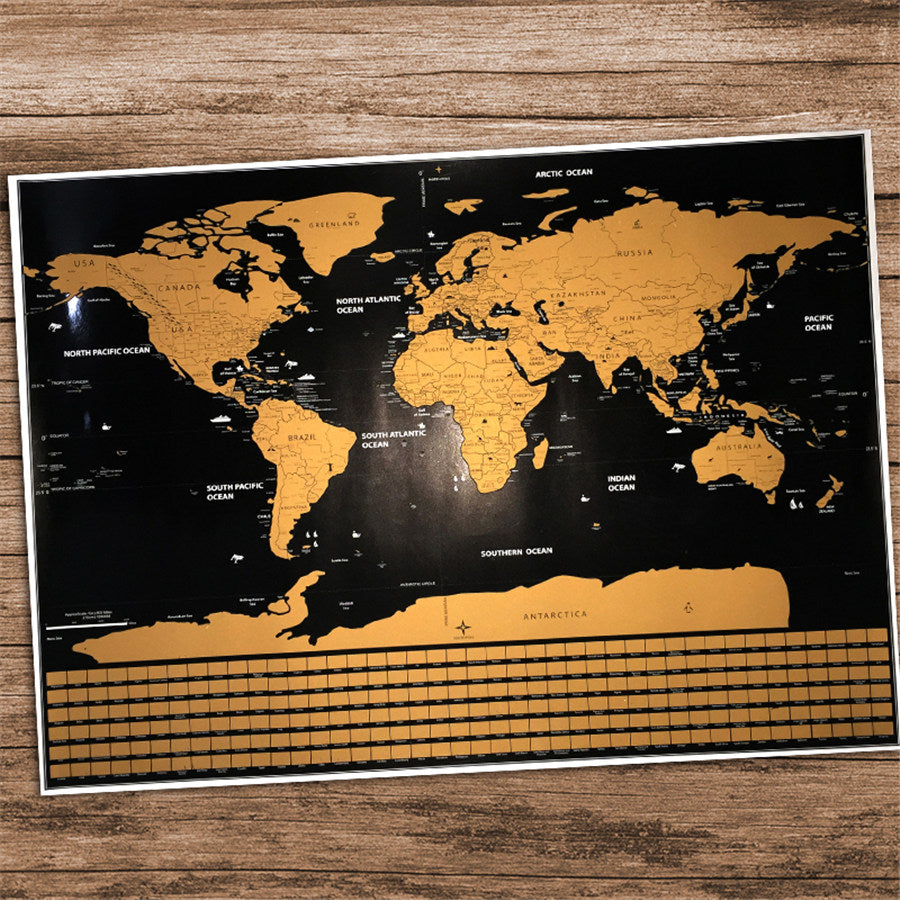 Deluxe Edition Scratch World Map (With USA, Canada, Australia State Lines)
