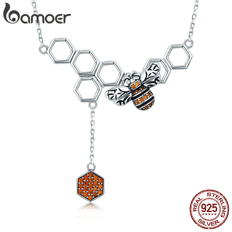 Sterling Silver Bee Honeycomb Necklace