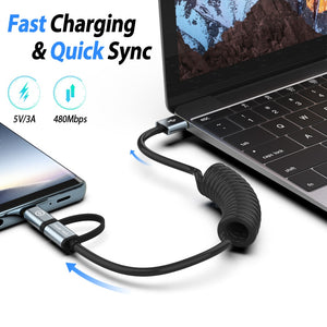 2-IN-1 Spring Coiled USB Type C & Micro USB Cable