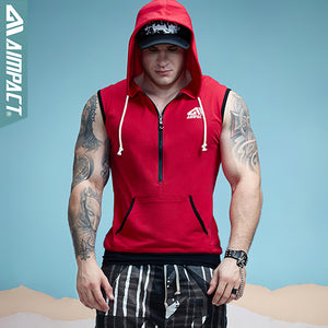 Aimpact Men's Fit Sleeveless Tapered Zip Hoodie Bodybuilding Tank Tops Crossfit Workout Sleeveless Jackets Terry Top Male sleeve