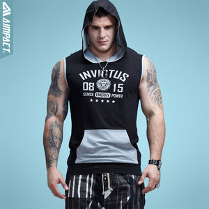 Aimpact Bodybuilding Sleeveless Hoodie Contrast Pocket Fitted Cotton Mens Tank Tops Fashion Terry Muscle Tshirts Male 2AM1011